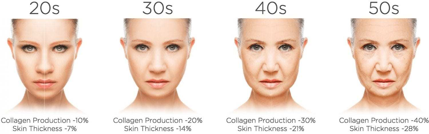 Collagen production at different ages
