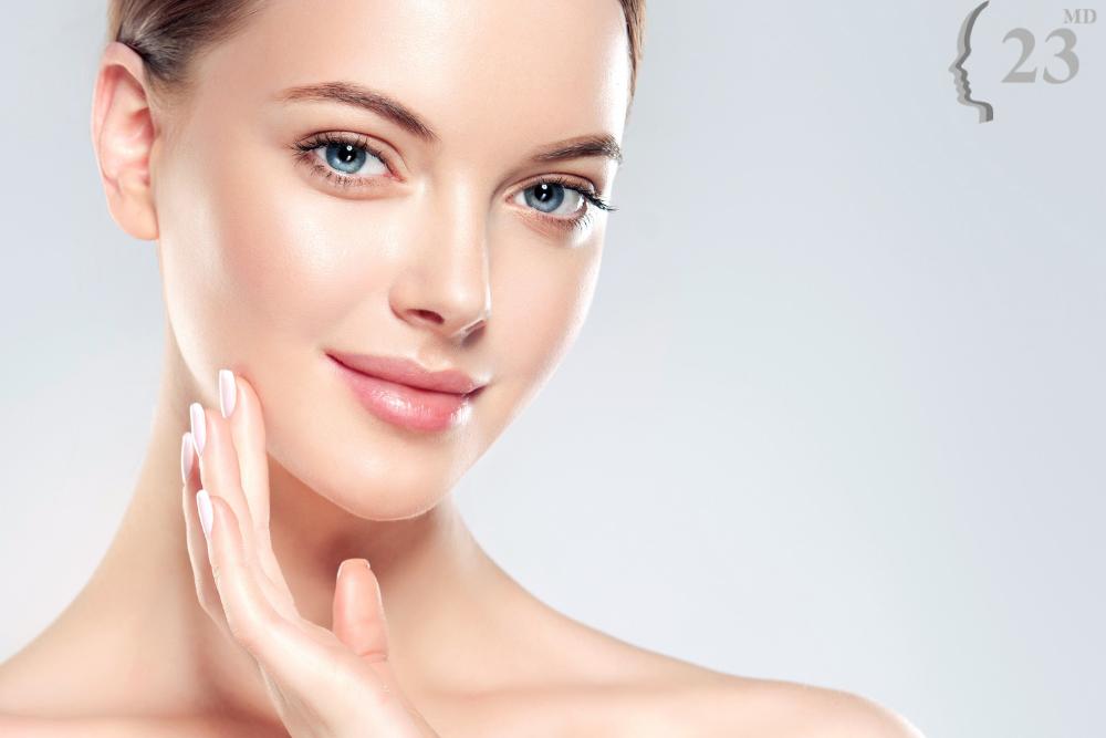 woman following dry skin treatment