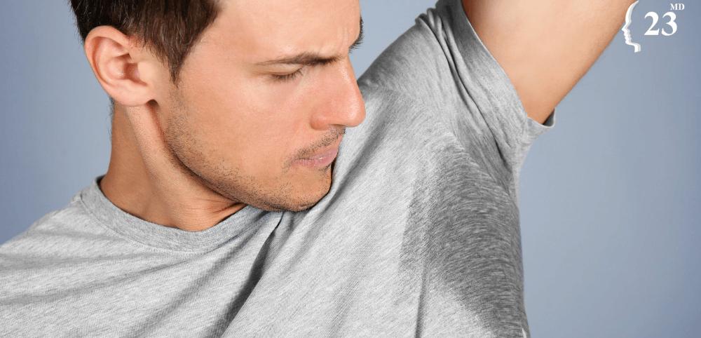 man with hyperhidrosis