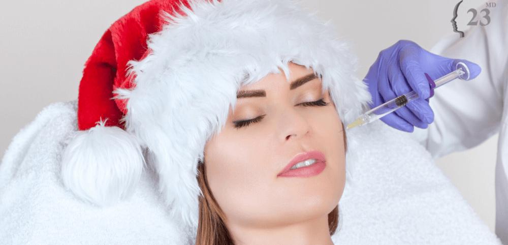 woman having skin rejuvenation treatments at Christmas